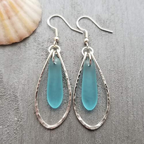 Handmade in Hawaii, Hammered Wire Loop Turquoise Bay blue sea glass earrings,'December Birthstone', Hawaiian Gift, (Hawaii Gift Wrapped, Customizable Gift Message)