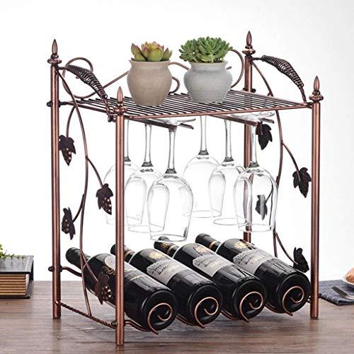 Porte Vin Stand-alone Casier À Vin Bouteille De Vin Étagère 4 Bouteilles Accrochées 6 Casier À Vin Empilant Verre De Vin Coffret En Métal Fer Bouteille Support De Rangement Décoration Comptoir Étagère