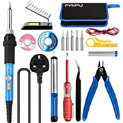 Soldering Iron Kit - PAIPU 18 in 1 Welding Tools with Adjustable Temperature, ON/Off Switch, Contain Desoldering Pump, Solder Wick, 2 Solder Wires, Scissors, Screwdriver, Tool Bag, Stand with Spong