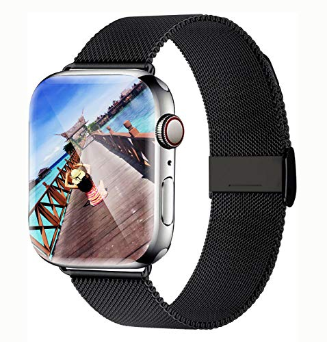 Yaber Stainless Steel Mesh with Adjustable Magnetic Closure Replacement Band Compatible for Apple Watch Series 5/4/3/2/1 (Black, 42MM/44MM)