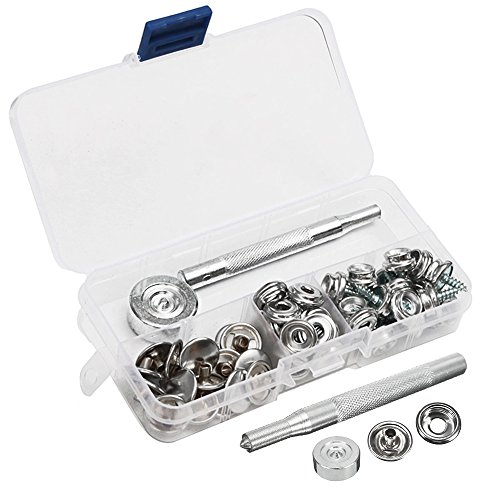 enjoygoeu ist 62Kupfer-Kit Set Druckknöpfe aus Edelstahl mit Werkzeug Reparatur Befestigung von Kleidung für die Anwendung-Plane Stoff Stoff
