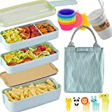 Bento Box Japanese Lunch Box Kit (16 PCS) 3-In-1 Compartment, Leak-proof Bento Lunch Box Meal Prep Containers with Utensils, Bento Boxes for Adults/Kids (Green)