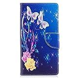 ISAKEN Sony Xperia XZ Premium Hülle, Folio PU Leder Flip Cover Brieftasche Geldbörse Wallet Hülle Ledertasche Handyhülle Tasche Schutzhülle Hülle für Sony Xperia XZ Premium - Rose Schmetterling