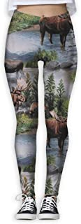 Bull Moose Nature Scenic Wildlife Animals Lake Women Power Flex Yoga Pants Workout Running Leggings