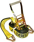 Everest Premium Ratchet Tie Down – 1 PK – 2 IN – 27 FT – 3333 LBS Working Load – 10000 LBS Break Strength – Double J Hook – Cargo Straps Perfect for Moving Appliances, Lawn Equipment and Motorcycles