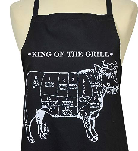 BARBARA SHAW GIFTS Grill Apron Kosher Men's Apron. (King of The Grill) for Men, B.B.Q. Apron Black Apron Israeli Gifts Made in Jerusalem