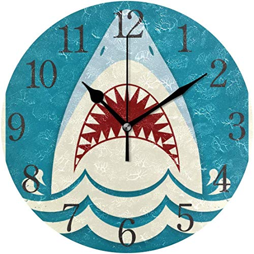 HAYDE Wall Clock Shark Tooth Jaws Silent Non Ticking Operated Round Easy to Read Home Office School Clock