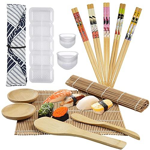 Kit Sushi, GuKKK 12 Piezas Herramienta para Hacer Sushi de Bambú Kit y 3 arroz Moldes, Kit de Fabricación de Sushi de Bambú, Incluir 2 Esterillas para Sushi, 5 pares de Palillos, Bandeja para Sushi