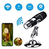 Wifi Digital Microscope, 1000x Handheld Wireless Magnification Endoscope 8 LED Pocket USB Mini Zoom Microscope...