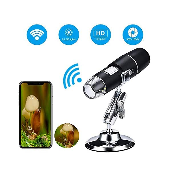 Wifi Digital Microscope, 1000x Handheld Wireless Magnification Endoscope 8 LED Pocket USB Mini Zoom Microscope Endoscope with Stand for iPhone IOS Android Phone ipad Tablet PC