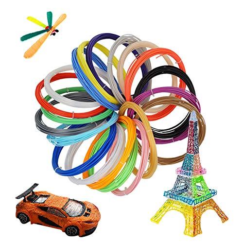 3D Stift Filament PLA, 20 Farben, je 5M, 3D Pen PLA Filament 1,75mm für 3D Druckstift