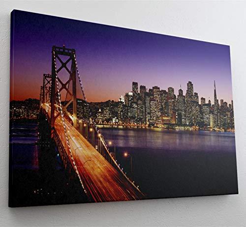 San Francisco Skyline Abends Leinwand Bild Wandbild Kunstdruck L1364 Größe 70 cm x 50 cm
