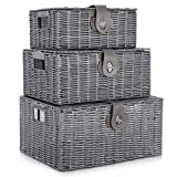 LIVIVO Set of 3 Resin Woven Wicker Hamper Basket <span class='highlight'>Storage</span> Box with Lid and Lock (Set of 3 <span class='highlight'>Grey</span>)