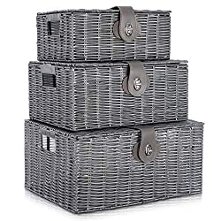 PREMIUM QUALITY - Premium quality hamper storage basket with hand woven resin on metal frame storage with insert handles - Ideal for Xmas Hamper Basket SIZE – ( SMALL HAMPER STORAGE BASKET - W28cm X D20cm X H12.5cm ) , ( MEDIUM - HAMPER STORAGE BASKE...
