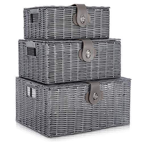 LIVIVO Set of 3 Resin Woven Wicker Hamper Basket Storage Box with Lid and Lock (Set of 3 Grey)