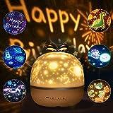 SANBLOGAN Nachtlicht Baby Sterne Lampe, LED Sternenhimmel Lampe Kinder mit 6 Projektionsfilmen Projektor Dinosaurier 360°Drehbar Projektor Lampe Nachtlicht für Perfekte Mädchen Kinder Party Geschenk