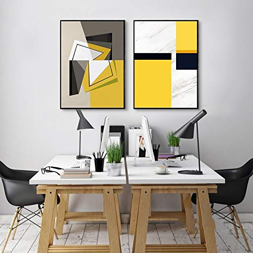 Geiqianjiumai 2pcs yellow, white, black geometric art Canvas Wall Art Picture Print Yellow Flower canvas large canvas prints wall art Calm Canvas Wall Frameless painting 50X70cm*2