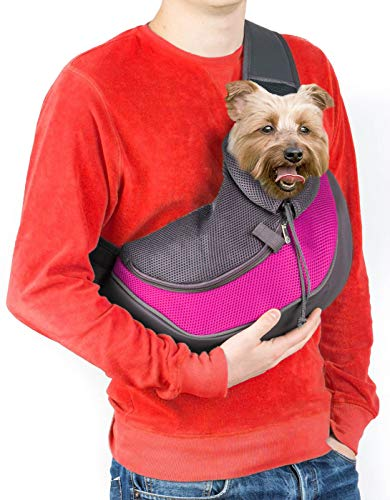 Cuddlissimo! Pet Sling Carrier - Small Dog Puppy Cat Carrying Bag Purse Pouch - For Pooch Doggy Doggie Yorkie Chihuahua Baby Papoose Bjorn - Hiking Front Backpack Chest Body Holder Pack To Wear (Pink)
