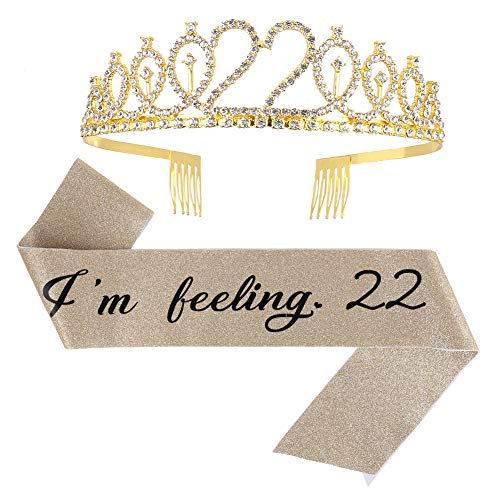 """ruggito """"Im Feeling 22"""" Schärpe und Strass-Tiara-Set, Geschenk zum 22. Geburtstag, für Frauen, lustiges Partyzubehör"""