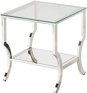 Square End Table with Mirrored Shelf Chrome