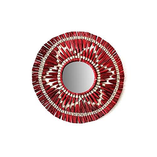 cypressen Espejo de tela para colgar en la pared hecho a mano, estilo bohemio, espejo antiguo para el hogar, salón, dormitorio, guardería