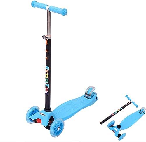 LIW Kids Big Scooter 3 Wheel Ideal für Kinder ab 6 Jahren Neigungs- und Lenkh nverstellbare T-Bar mit blinkenden Lichtern