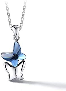 T400 Blue Purple Pink Butterfly Swarovski Crystal Pendant Necklace ♥ Birthday Gift for Girls Women