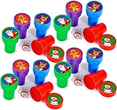 24 Christmas Assorted Bright Colored Plastic Stamps - Self Ink Christmas Stampers - Fun Gift, Party Favors, Party Toys, Go...