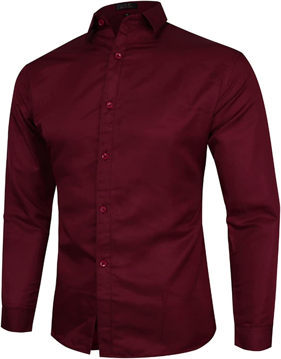 Mens Long Sleeve Slim Fit Dress Shirts Solid Color Casual Business Formal Button Up Shirts with Pocket S-5XL