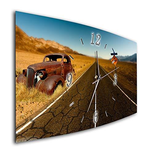 Bilder-Paradies Wanduhr Funkwanduhr oder Quarzwanduhr leises Uhrwerk kein Ticken Made in Germany Bildmotiv Dekoration Oldtimer Route Auto 7961-1a