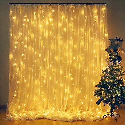 Elegear 6X3M 600LEDs Tenda Luminosa Impermeabilità Luci Natale Esterno Tenda Luci con 8 Programmi Decorazioni Natalizie per Balcone, Salotto, Giardino,Terrazza