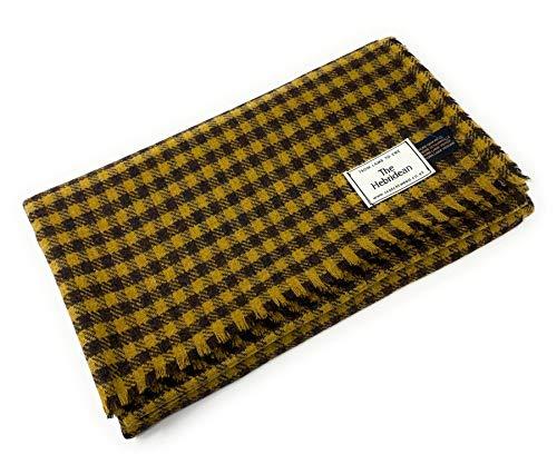Manta de tweed de lana pura, color amarillo y marrón mostaza
