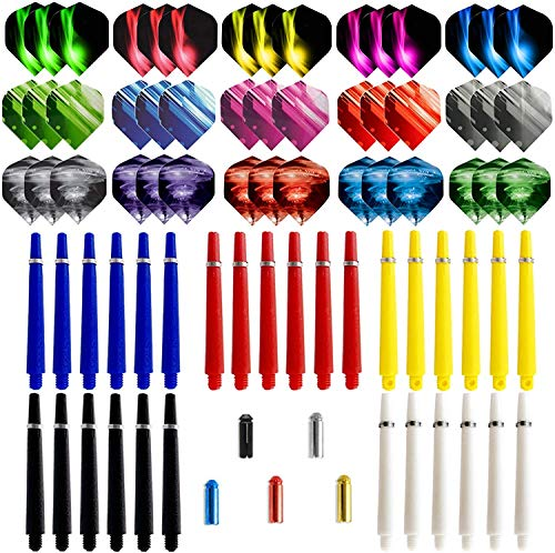YOOSHERRY 75Pack Dart Nylon Stems and 2D Flights Set in 2BA Medium Nylon Shafts Colourful Flights and Protector Professional Dart Accessories Kit Perfect Accessories for Indoor Dart Games