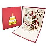 3D Emergente Tarjeta de Felicitación Cumpleaños con Sobre, Creatividad Tarjeta de Cumpleaño con Vela Rojo, Pastel, Frutas, Flores, Globos para Cumpleaño, Graduación - Rojo