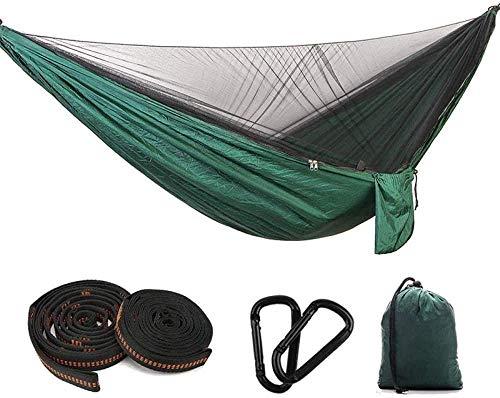 WYJW dubbele kampeerhangmat, kampeerhangmat met muskietennet - 200 kg laadvermogen - 300 kg sneldrogende, ademende parachute nylon hangmat voor 2/1 personen voor outdoor excursies-groen 1