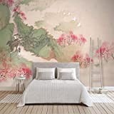 Ríos y montañas pintados a mano en 3D Pintura de paisaje de tinta Flor de melocotón Dormitorio Estilo clásico Atmósfe Pared Pintado Papel tapiz 3D Decoración dormitorio sala sofá mural-250cm×170cm