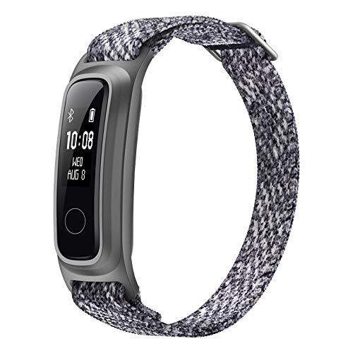 HONOR Band 5 Sport Smartwatch, Ecologica Fibra Braccialetto con 2-Vie Indossare Activity Tracker Braccialetto per Nuoto in Esecuzione Pallacanestro, Ghiacciaio Grigio