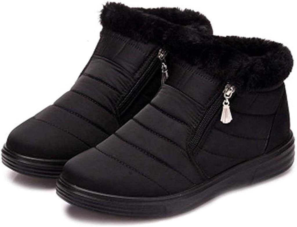 OOLG Women's Waterproof Rain Snow Ankle Booties Lightweight Zipper Winter Fur Outdoor Snow Short Boots