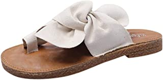 Women Summer Open Toe Sandals, Ladies Solid Bow-knot Flat Slippers Beach Shoes