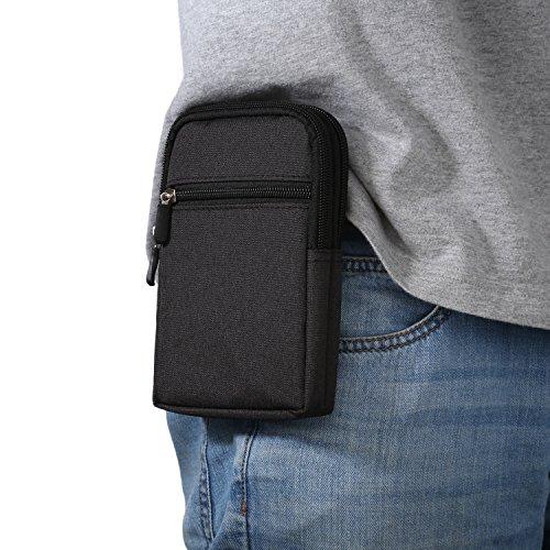 Riñonera vertical para teléfono móvil para hombre, color negro, con clip para cinturón, universal para teléfono móvil de 6,9 pulgadas, con trabilla para cinturón y mosquetón