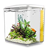 YCTECH 1.4 Gallon Square Betta Aquarium Starter Kits, Fish Tank with LED Light and Filter Pump White...
