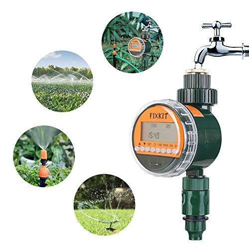 FIXKIT Bewässerungsuhr mit wasserdichtem Schutzdeckel (IP67) Garten Zeitschaltuhr Bewässerung, Bewässerungsprogramme bis zu 30 Tagen, ideal zur Blumenbewässerung, Rasenbewässerung usw