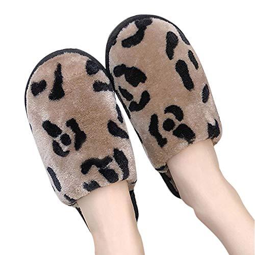 ZRSH Zapatillas de Felpa Zapatillas De Casa Mujer Interior Invierno Warmer Felpa Chanclas Punta Abierta Moda Antideslizante Pantuflas Estampado de Pareja Zapatos,001,42/43EU