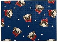 大人のためのネイビーブルー500ピースジグソーパズルの赤いスカーフとパグ犬子供ゲームおもちゃギフト壁の装飾
