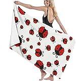 Ches Funny Ladybug - Albornoz de baño para Mujer, Color Blanco, Ver Imagen, Talla única