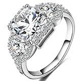 FENDINA Womens 18K White Gold Plated 3 Stone CZ Crystal Eternity Promise Ring Engagement Wedding Bands, Size 10