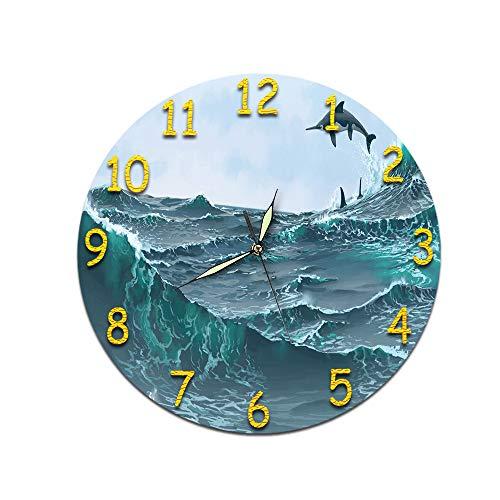 LUOYLYM Reloj De Regalo Reloj De Pared Acrílico Mudo Movimiento Reloj Etiqueta De La Pared Reloj Despertador Sin Bordes D-482 (Luminous Hands) 28cm