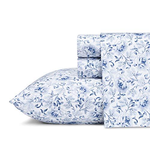 Laura Ashley Home - Sateen Collection - Sheet Set - 100% Cotton, Silky Smooth & Luminous Sheen, Wrinkle-Resistant Bedding, Queen, Lorelei