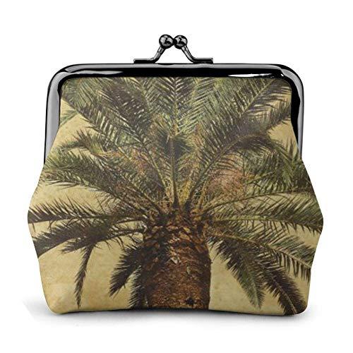Palm Tree Tropical - Monedero de piel sintética con cierre de cierre de beso