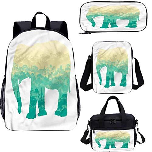 África 15 pulgadas niños escuela libreros conjunto, salvaje elefante árbol fauna 4 en 1 conjuntos de mochila